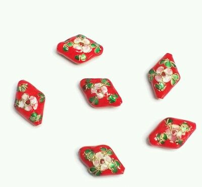 Pack of 10 red hand made rhombus Cloisonne beads for jewellery making. 22mm long