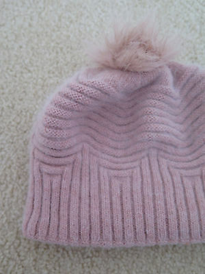 Forever New Dusty Pink Ribbed Striped Beanie Hat Women Young Ladies Fashion