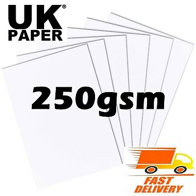 A4 A5 WHITE THICK CARD BLANKS STOCK CRAFT HOBBY WEDDING DECOUPAGE PRINTER 250gsm
