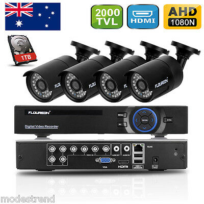 8CH 720P HD HDMI DVR 4X 2000TVL CCTV Digital Camera Video Record System 1TB HDD