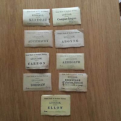 9 Great North Of Scotland Railway Luggage Labels (a)