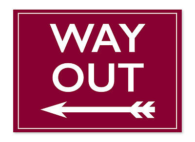 Way Out- Vintage Station Signs, Railway Novelty Stickers