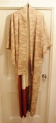 Japanese Silk Kimono -Lovely Rural Scenes with Blossom- Vintage, stunning lining