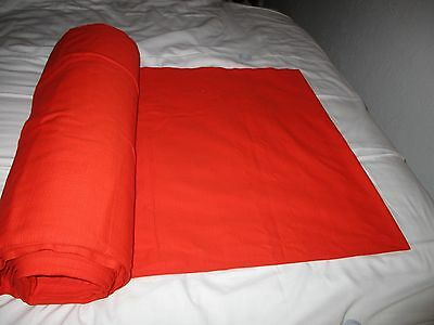 VINTAGE MATERIAL ORANGE 4' WIDE OVER 12m LONG SUITABLE CURTAINS UPHOLSTERY ETC;