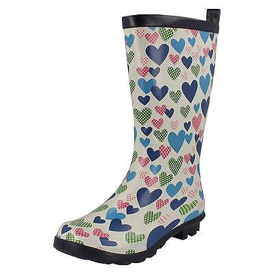 Wholesale Girls Heart Print Wellington Boots 14 Pairs Sizes 10-2  X1206