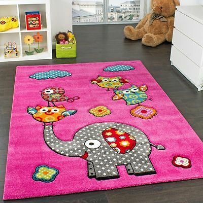 Kids Rug Carpet Play Mats Animals Elephant Design Girls Pink Small Large Rugs
