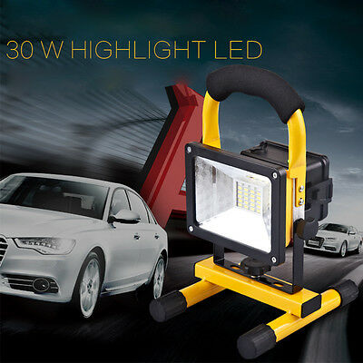 30W IP65 LED Floodlight Waterproof  Lamp Rechargeable Work Light + UK Charger