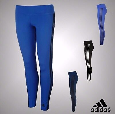 New Ladies Genuine Adidas Lightweight Fitness Gym 3 Stripe Long Tights Size 6-22
