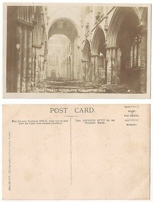4B SELBY ABBEY AFTER THE FIRE OCT 26 1906 RP by BRAMLEY, Leeds
