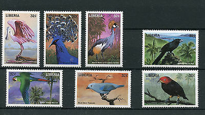 Liberia 1998 MNH Birds 7v Set Spoonbill Ani Tanager Macaw Parrots Manakin Stamps