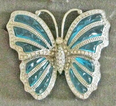 "NOLAN MILLER Clear/White Crystal & Blue Green ""Flamboyant Butterfly Pin"" NIB"