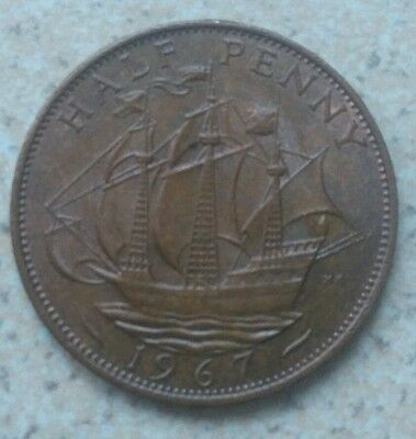 Great Britain Golden Hind Half Penny 1967 Without 'britt:omn'