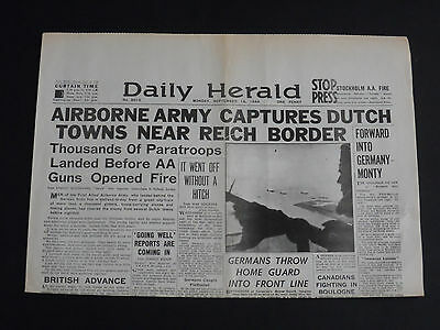 WW2 Newspaper THE DAILY HERALD 18th September 1944