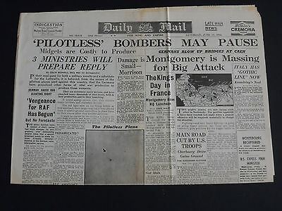 WW2 Newspaper THE DAILY MAIL June 17th 1944 - Pilotless Bombers May pause