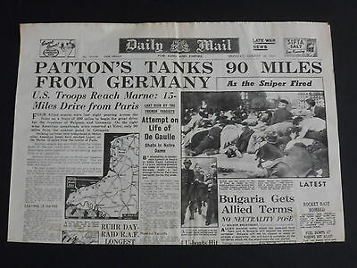 WW2 Newspaper THE DAILY MAIL August 28th 1944