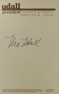 Politician, Presidental Contender MORRIS UDALL - Stationery Signed With Our COA
