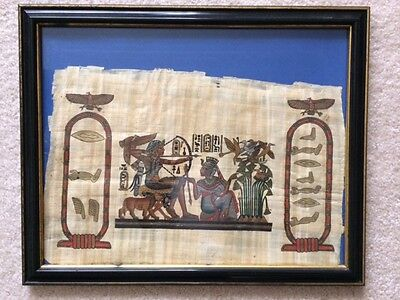 """Framed Hand-Painted Egyptian Art """"Hunting Scene"""" on Papyrus 15.5"""" x 12.5"""""""