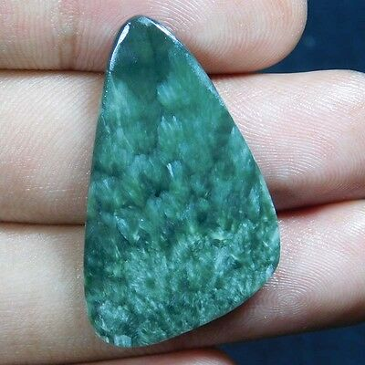 22.5Cts 100% NATURALA+ QUALITY Green SERPHINITE Fancy 37X22 CAB GEMSTONE