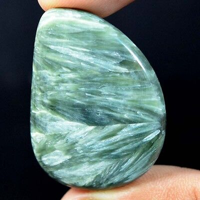 48.25Cts 100% Natural Rare GREEN SERPHANITE FANCY 38X27 Loose Gemstone