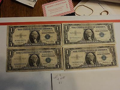 lot of 4 1935 & 1957  $1 Silver Certificate Notes   lot #4
