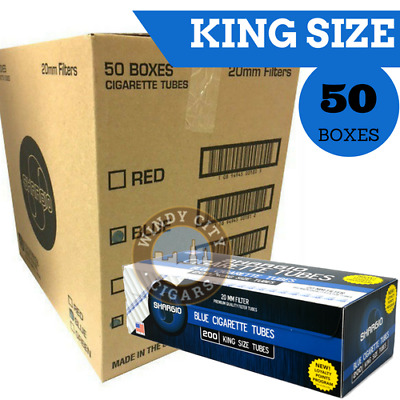 Shargio Light Blue Filtered Cigarette Tubes King Size 50 Boxes 200 Ct.