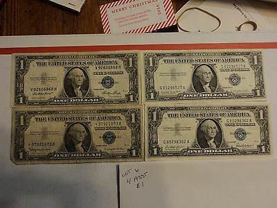lot of 4 1935 & 1957  $1 Silver Certificate Notes   lot # 6