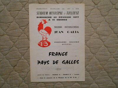 France V Wales Rugby League Match Programme 1977