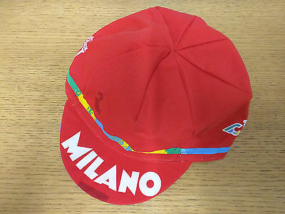 CINELLI MILANO RETRO STYLE CYCLING TEAM BIKE CAP - MADE IN ITALY - Red