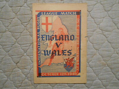 England V Wales Rugby League Match Programme 1946