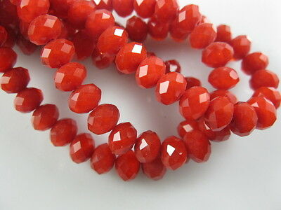 200Pcs Loose Opaque Red Crystal Glass Faceted Rondelle Bead 4mm Spacer Crafts