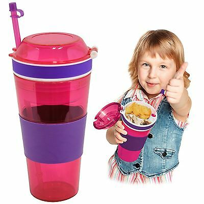 Kool Kup 2 In 1 Snack Drink Cup Travel Mug Straw Holder Food Grip Non Spill Kid