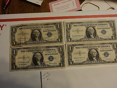 lot of 4 1935 & 1957  $1 Silver Certificate Notes   lot # 8