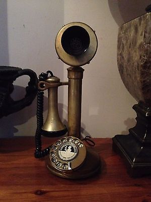 Metal Candlestick Rotary Dial Phone