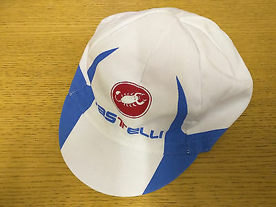 CASTELLI RETRO STYLE CYCLING TEAM BIKE CAP - MADE IN ITALY - White/Blue