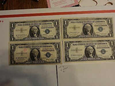 lot of 4 1935 & 1957  $1 Silver Certificate Notes   lot # 9
