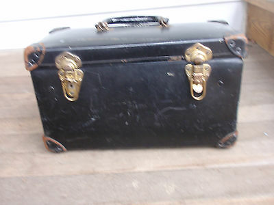 "Vintage Electrical Tool Box 15 1/2"" X 9""  Electrician Metal & Leather"