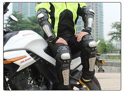 Motorcycle Protective Stainless steel Gear Knee Pads Body Guards Pair Kit bike
