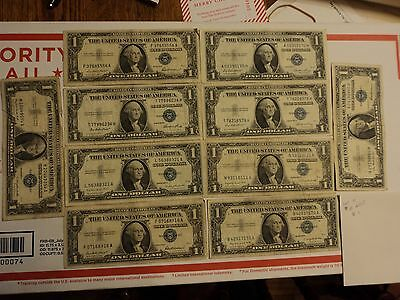lot of 10 1935 & 1957  $1 Silver Certificate Notes   lot #  11
