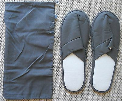 New Lufthansa First Class In-flight Slippers, gray, with Bag, Elegant & Durable!