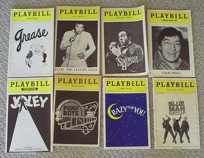 Playbill X 8 - Elvis, Louis Prima, Grease, Blue Man Group, Pump Boys, Joley