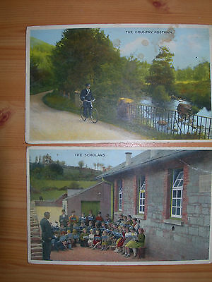 x2 Collectable Postcards Irish Country Life Series Postman & Scholars Unposted