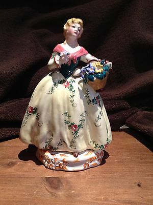 Vintage Italy Bassano Pottery Hand Painted Lady With Flowers Figurine