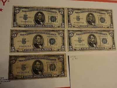 lot of 5 1934  $5    Silver Certificate Notes   lot #  22