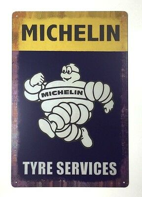 Tin Metal Wall Sign Plaque Vintage Retro Michelin 20 x 30cm