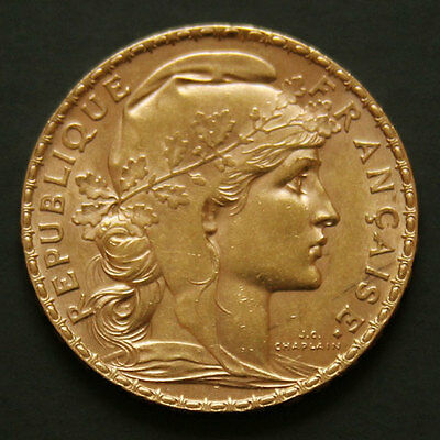 20 francs or Coq 1908 20 french franc Rooster gold coin France