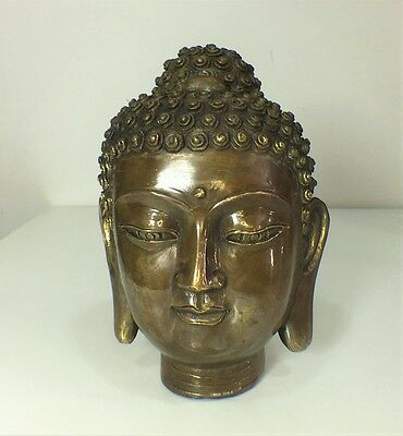 Heavy Cast Real Bronze Buddha Head Statue Ornament 19cm High Hallmarked