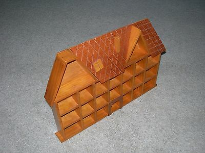 SUPERIOR LARGE WOODEN THIMBLE DISPLAY HOUSE ~ 23 APERTURES ~ Wall Mounted