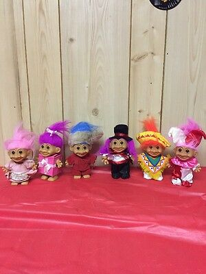 Lot of 6 Vintage Mixed TROLL Dolls  Russ, etc.