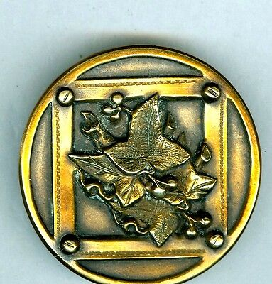 Large Brass Picture Button - LEAVES in Square - MUST SEE!  BM