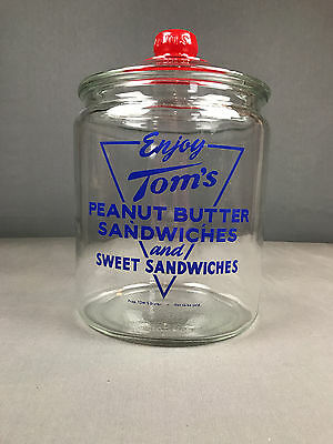 Vintage 2 Gal. Tom's Sandwich / Peanut Jar w/ Red Top Lid, Lance Display Store